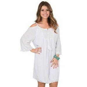 nwt | Ariat Caliente White Cold Shoulder Dress Sml